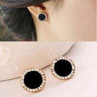 Black Stud Earrings Rhinestone Round Earrings