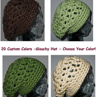 Slouch Beanie Slouchy Hat Crochet  Women Men Teen CHOOSE COLOR Green Black Cream Brown Chunky Gift under 25
