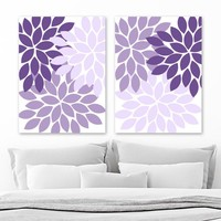 Purple Flower WALL Art, Canvas or Prints, Purple Bathroom Decor, Purple Bedroom Wall Decor, Purple Nursery Decor, Flower Artwork Set of 2