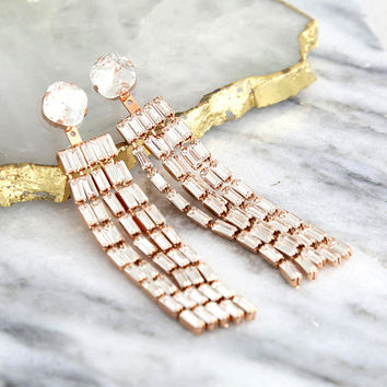 Bridal Earrings, Ear Jacket Earrings, Statement Earrings, Tassel Crystal Earrings, Long Dangle Earrings, Bridal Swarovski Crystal Earrings
