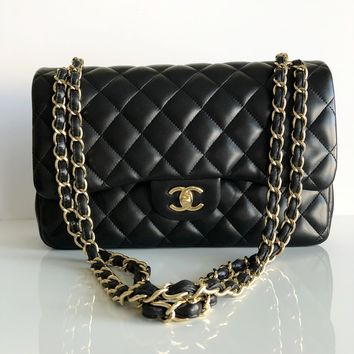Authentic CHANEL Lambskin Double Flap Jumbo