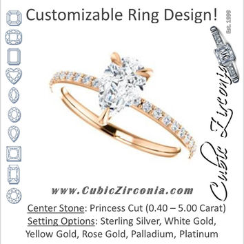 Cubic Zirconia Engagement Ring- The Geraldine Lea (Customizable Princess Cut with Delicate Pavé Band)