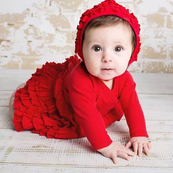 Red and pink baby dresses for party Beautiful Princess 1st birthday party Festive newborn gift dress + cap 2 pcs / baby sets