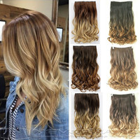 """24"""" 60cm Curly Wavy Hair Extention 3/4 Full Head Clip in Hair Extensions Curly O"""