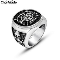 Punk Style Pirate Skull and Cross Round Mens Ring Stainless Steel Biker Jewelry Stylish Accessories Size 7-12 CharMade R621