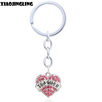 XIAOJINGLING New Key Chain Best Friend Hope Teacher Heart Keychain Ring Fashion Keyring Pendants Romantic Creative Jewelry Gift