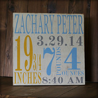 Birth Announcement- distressed home decor, wall art, nursery, playroom, children, painted wood sign
