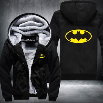 Superman Hoodies Warm Liner The Flash Man Coat Jacket Batman Hoodies Winter Men Thick Superman Sweatshirts Hoodes USA Size