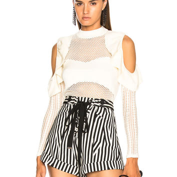 self-portrait Frill Cold Shoulder Knit Top in White   FWRD