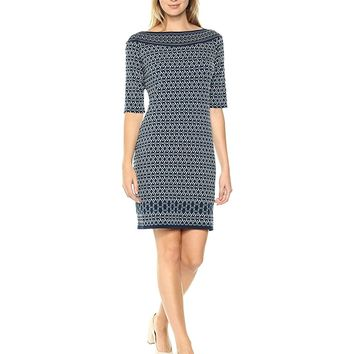 Lark & Ro Women's Elbow Sleeve Shift Dress