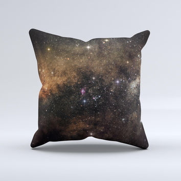 The Gold Aura Space ink-Fuzed Decorative Throw Pillow