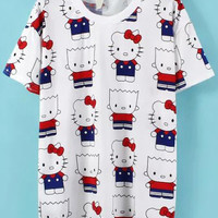 White Short Sleeve Hello Kitty Print T-Shirt