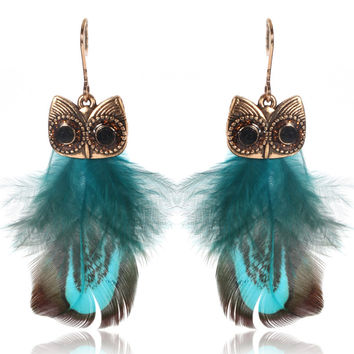 SHOWTRUE For Women Cute Feather Earrings Trendy Luxury Boho Owl Classic Dangle Earrings Bijoux  Indian Native American Jewelry