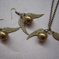 Golden Snitch Necklace and Earrings SET  Steampunk  by qizhouhuang