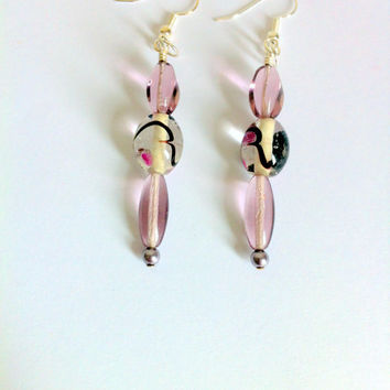 Glass Pearl Dangle Earrings Pink Glass Oval Bead Earrings Hand Painted Indian Glass Beads Violet Swarovski Crystal Pearls Prom Earrings