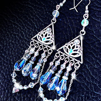 Lotus earrings, chandelier earrings, blue quartz crystal earrings, statement earrings, boho jewelry, swarovski drop earrings