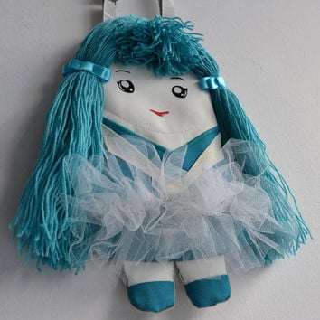 FREE SHIPPING! Lovely bag ballerina in tulle tu tu skirt.  Handbag doll for girls.