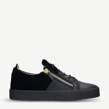 GIUSEPPE ZANOTTI - Leather and velvet sneakers | Selfridges.com