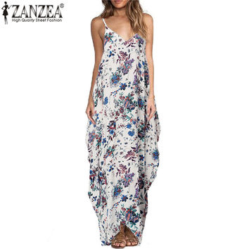 ZANZEA Vestidos 2017 Boho Women Floral Print Sleeveless Long Dress Sexy Straps V neck Backless Loose Maxi Dresses Plus Size