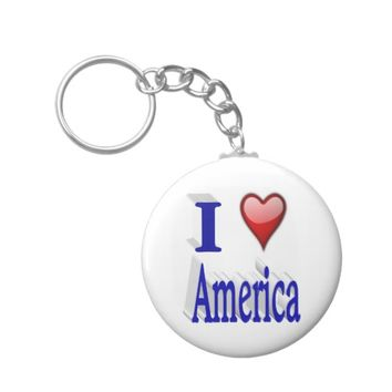 I Heart America 3D Key Chains, Red & Blue Keychain