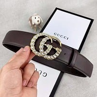 GUCCI Fashion New Letter Pearl Buckle Women Men Leisure Belt Coffee With Box