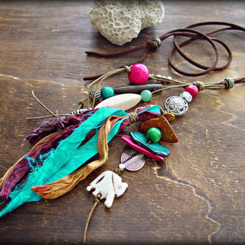 Hippie Necklace - Hippie Tassel Necklace - Boho Jewelry - Boho Necklace - Boho Pink Necklace - African Necklace -  Gypsy Necklace