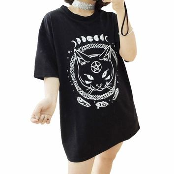Gothic Moon Phase Witchcraft Tee Shirt