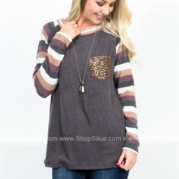 Sequin Soft Striped Top