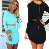Sexy Stitching Gauze Zipper Bodycon Mini Dress