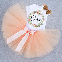 Baby Girl First 1st Birthday Party Tutu Dresses for Toddlers Vestidos Infantil Princess Clothes 1 Year Girls Baptism Clothing