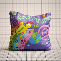 homer simpson, let your spirit soar,  Cushion Cover