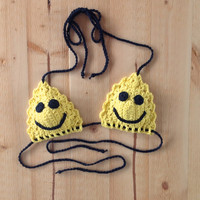 Sunshine Yellow Smiley Face Open Stitch Crochet Bikini Top