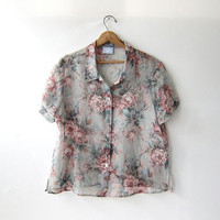 Vintage floral print blouse. Sheer floral top. Button front shirt.