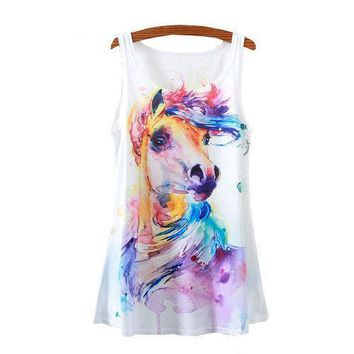 Horse Painting Tank Tops - Women's Sleeveless Tops