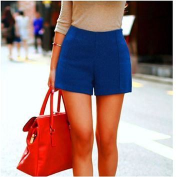 Casual High-Waist Wool Shorts
