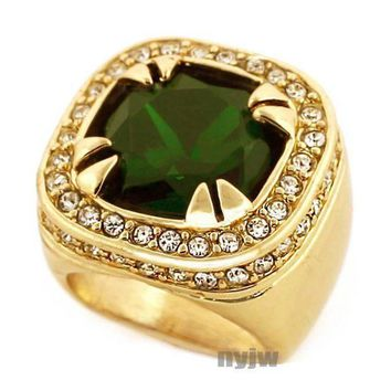ESBONRC NEW MENS BIG CHUNKY GOLD PLATED ICED OUT RICH GANG EMERALD GREEN RING R020G
