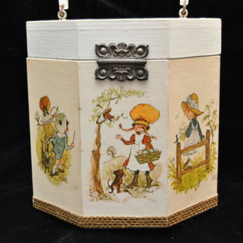 Vintage Holly Hobbie Wooden Purse Lucite Handle Octagon Shape 70s with Decoupage Images