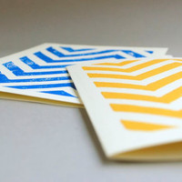 Two Block Print Greeting Cards Chevron Pattern by CursiveArts