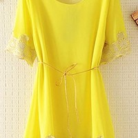 Chiffon Top with Lace Rim with Thin Belt EDDX645 from topsales