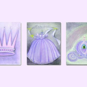 Princess Decor, Nursery Prints, Purple, Nursery Decor, Nursery Wall Art, Baby Girl Nursery, Princess Crown, Carriage, Princess Dress