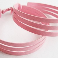 Large Pale Pink Enamel Mod Cutout Hoop Clip Earrings | Hollee - Jewelry on ArtFire