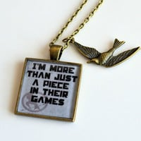 The Hunger Games SPECIAL Debut- Peeta Mellark Quote Pendant Necklace-I Am More Than Just A Piece In Their Games