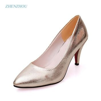 New 2017 spring and summer  new women's shoes han version of high heels gold wedding shoes fashion aesthetic hot style tide