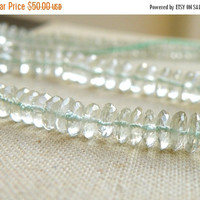 51% Off Outstanding Prasiolite Green Amethyst Gemstone Rondelle German Cut 8 to 8.5mm 42 beads