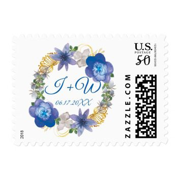 Blue Gold Hydrangeas Floral Save the Date Wedding Postage