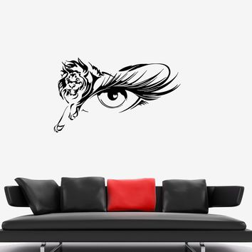 Wall Decal Animal Lion Eye Silhouette Look Vinyl Sticker (ed1126)
