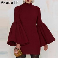 2016 FALL WINTER SPRING CELEB BACKLESS FLARED SLEEVES CHOKER MINI DRESS PARTY PLUS SIZE Pencil WRAP DRESSES VESTIDOS