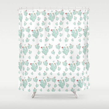 Tiny Cacti Shower Curtain Green Cactus  Mildew Resistant Material Home Bath Room Design Home Apartment Decor