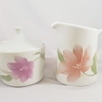 Corning Ware Pacifica Pattern 1980's Sugar and Creamer Set Porcelain