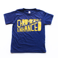 Chromosomally Enhanced tee in blue with yellow ink